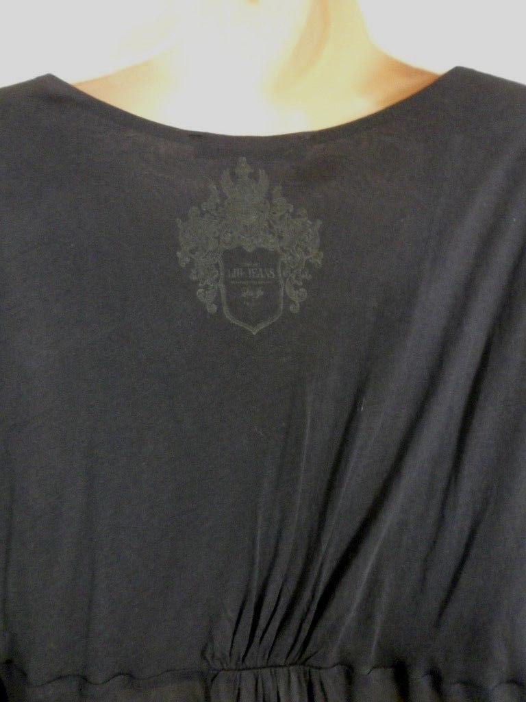 LIU-JO JEANS WOMEN'S NAVY BLUE V NECK BLOUSE SHEER SLEEVES SIZE MEDIUM