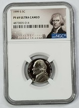 1999S 5c NGC PF69 Ultra Cameo Proof Jefferson Nickel Coin Ultra Cameo SKU C47
