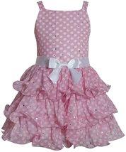 Bonnie Jean Little Girls Pink Sparkle Dot Tier Chiffon Drop Waist Social Dress