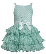 Bonnie Jean Little Girls Green Sparkle Dot Tier Chiffon Drop Waist Social Dress