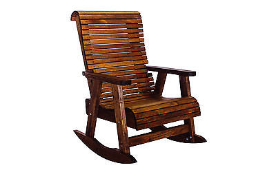 Outdoor Patio Quality Highback Rocking Chair - Real Wood - Made in USA!
