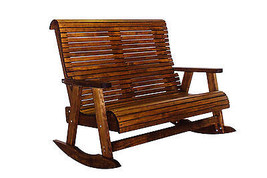 Outdoor Patio Quality Highback Rocking Loveseat - Real Wood - Made in USA! - $787.05