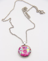 Necklace Resin on Recycled Watch Back Pendant Pink Heart Confetti, Round... - $15.00