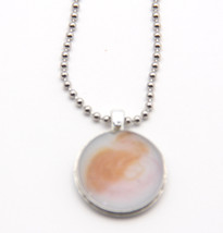 Necklace Resin Recycled Watch Back Pendant in White Orange & Pin, Silver... - $12.00
