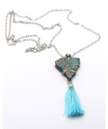 "Tassel Necklace Turquoise Gemstone, Silver Alloy Setting, 32"" Silver Cha... - $38.00"