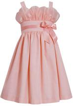 Bonnie Jean Little Girls 2T-6X Peach Gathered Organza and Linen Social Dress