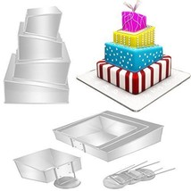 4 Tier Cake Pans Set Multiple Layer Wedding Cakes Party Cakes 4 Sizes Ba... - $38.75