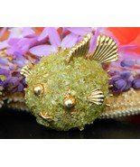 Vintage Puffer Fish Brooch Pin Peridot Chips Gemstones Figural Smiling