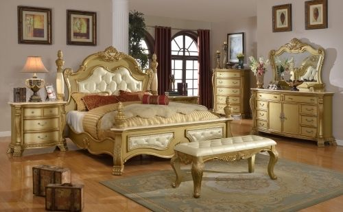 Meridian Lavish King Size Bedroom Set 5pc. Gold Tone Classic Traditional Style