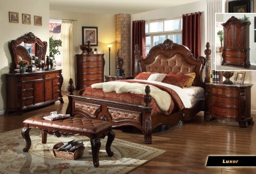 Meridian Luxor Queen Size Bedroom Set Carvings Traditional 2 Night Stands