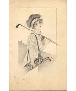 a Lovely Golfer 1912 Vintage Post Card  - $6.00