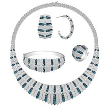 Bride Talk Luxury Full Micro Paved Cubic ZirconJewelry Four Pcs Sets Necklace E - $186.63