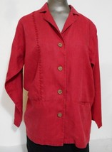 Chico's Design Red Linen  Front  Four Button Jacket  size 0 Full  Length... - $15.17