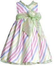 Bonnie Jean Little Girl 2T-6X Lime-Green Multi Bias Stripe Shantung Social Dress