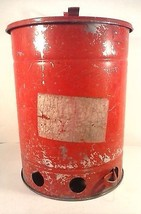 VINTAGE 1920'S ERA UNDERWRITERS LABORATORY WASTE TRASH CAN METAL RED #B8... - $100.00