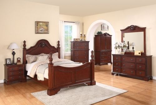 Meridian Manor Queen Size Poster Bedroom Set 5pc. Cherry Traditional Style
