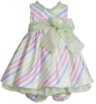 Bonnie Jean Baby Girls 3M-24M Lime-Green Multi Bias Stripe Shantung Social Dress
