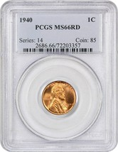 1940 1c PCGS MS66 RD - Lincoln Cent - $58.20