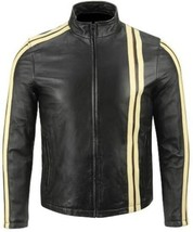 Leather Skin Men Black Biker Motorcycle Leather Jacket with Yellow Stripes - $179.99