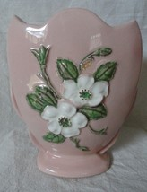 Vintage Pink HULL Vase White Dogwoods  Made in ... - $23.36