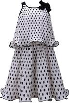 Bonnie Jean Little Girl 2T-6X Black White Polka Dot Popover Chiffon Social Dress
