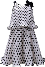 Bonnie Jean Big Girls 7-16 Black White Polka Dot Popover Chiffon Social Dress