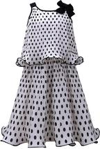 Bonnie Jean Big Girls 7-16 Black White Polka Dot Popover Chiffon Social Dress