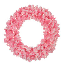 Northlight Flocked Pink Artificial Christmas Wreath - 24-Inch, Clear Lights - $48.25