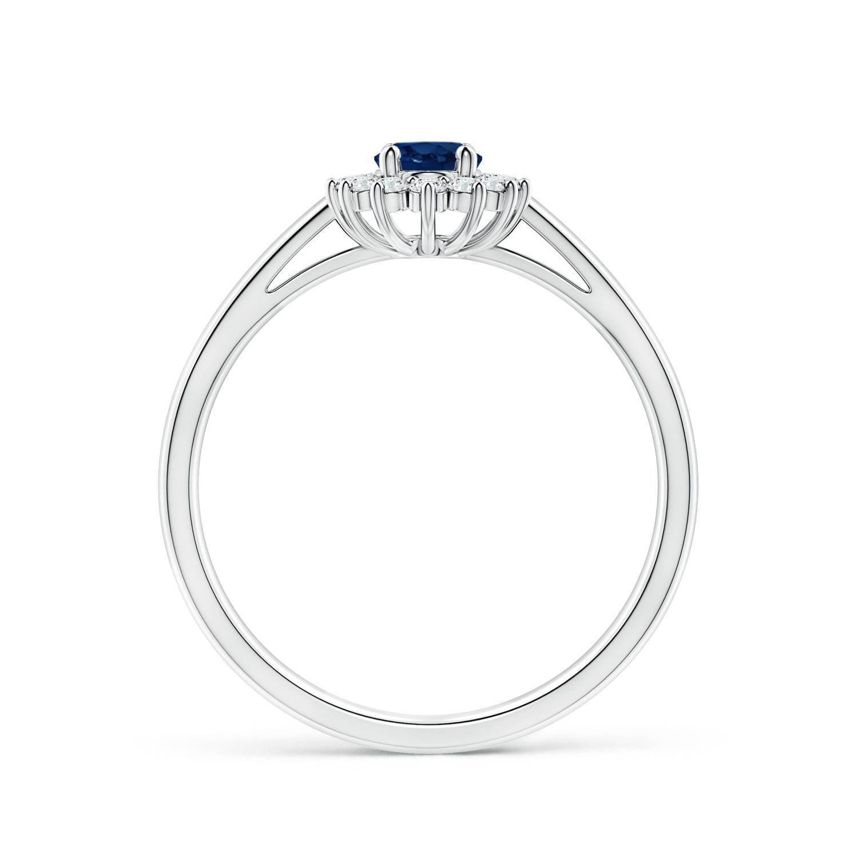 0.79tcw Natural Blue Sapphire Diamond Halo Ring 14k Gold/Platinum Size 3-13