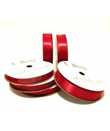 Offray Red Satin Ribbon Six Rolls of 18 Feet, 3/8 and 5/8 inch Craft Lot - $24.74