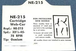 NE-215 PHONOGRAPH NEEDLE for Webcor 21P-211 21P-247 21P-291 21P-402 21P-403 image 2