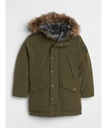 GAP Kids Boys Parka Down Puffer 4 5 Army Green Removable Faux Fur Hood C... - $69.29
