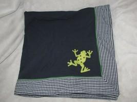 Baby Gap Navy Blue Cotton Blanket Frog White Gingham Plaid Trim 2004 - $68.80