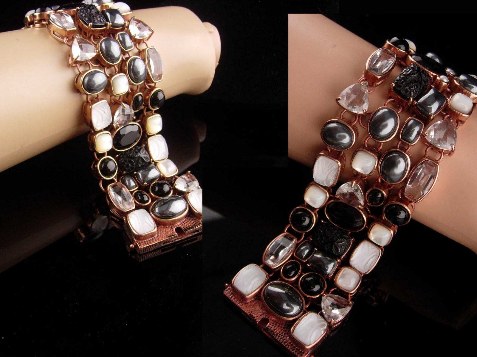 Amy Kahn Bracelet - carved black onyx - Pearl - Hematite - bronze cluster wide b image 6