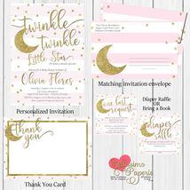 twinkle twinkle little star Baby Shower Invitation diaper raffle pink gold - $1.75+