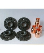 4 x Malleable iron metal Flange  and 4 X Copper 15mm Pipe Fitting *LOOK* - $18.25
