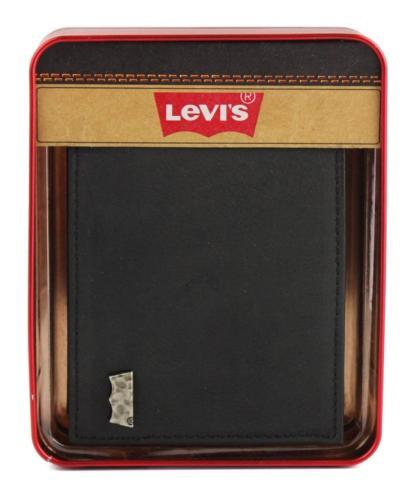 NEW LEVI'S PREMIUM CLASSIC LEATHER BIFOLD ID CREDIT CARD WALLET BLACK 31LV13A7