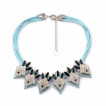 Major Suit Blue Multi-storey Chain Karma Necklace Fake Stretcher - $20.97