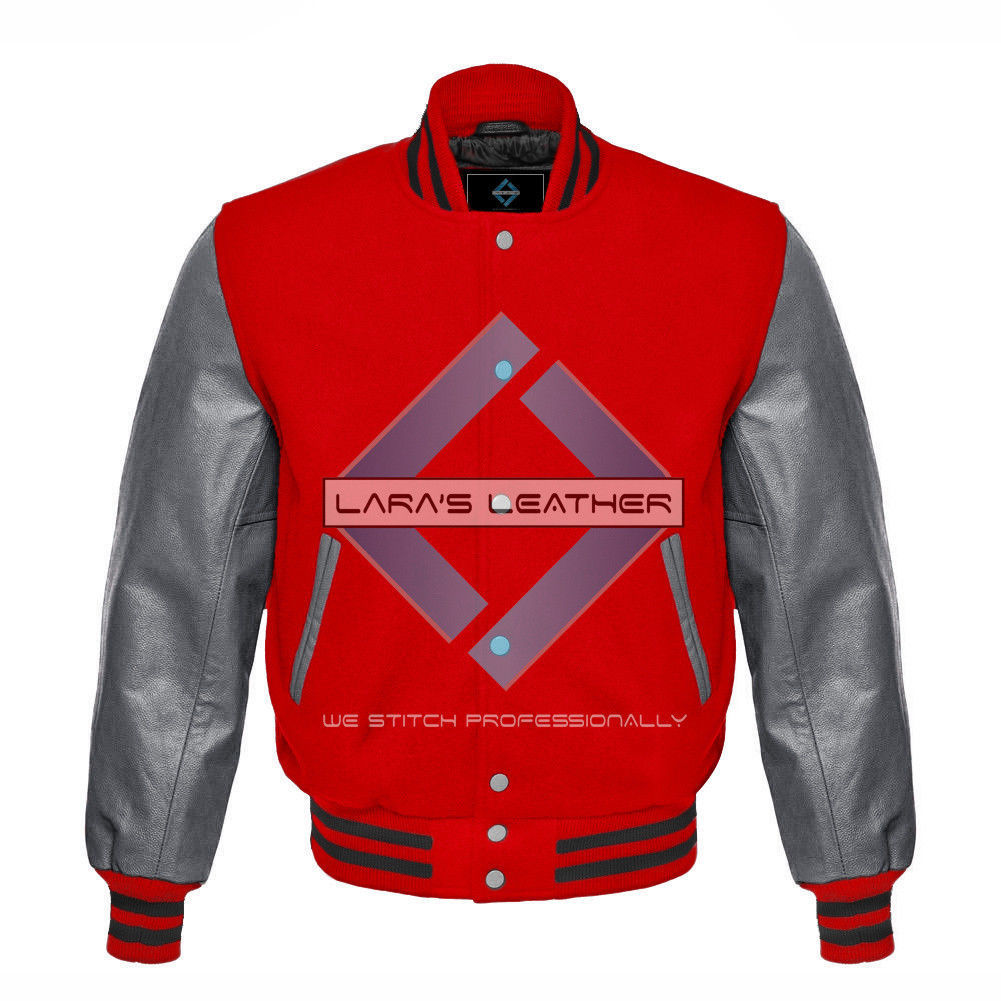 Primary image for Red Varsity Baseball Genuine Leather Sleeves Letterman College  Men Wool Jacket