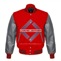 Red Varsity Baseball Genuine Leather Sleeves Letterman College  Men Wool... - $94.99