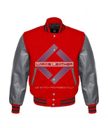 Red Varsity Baseball Genuine Leather Sleeves Letterman College  Men Wool... - $94.99