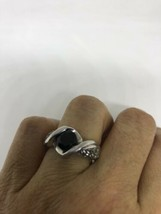 Vintage Genuine Black Onyx White Sapphire 925 Sterling Silver Ring - $94.05