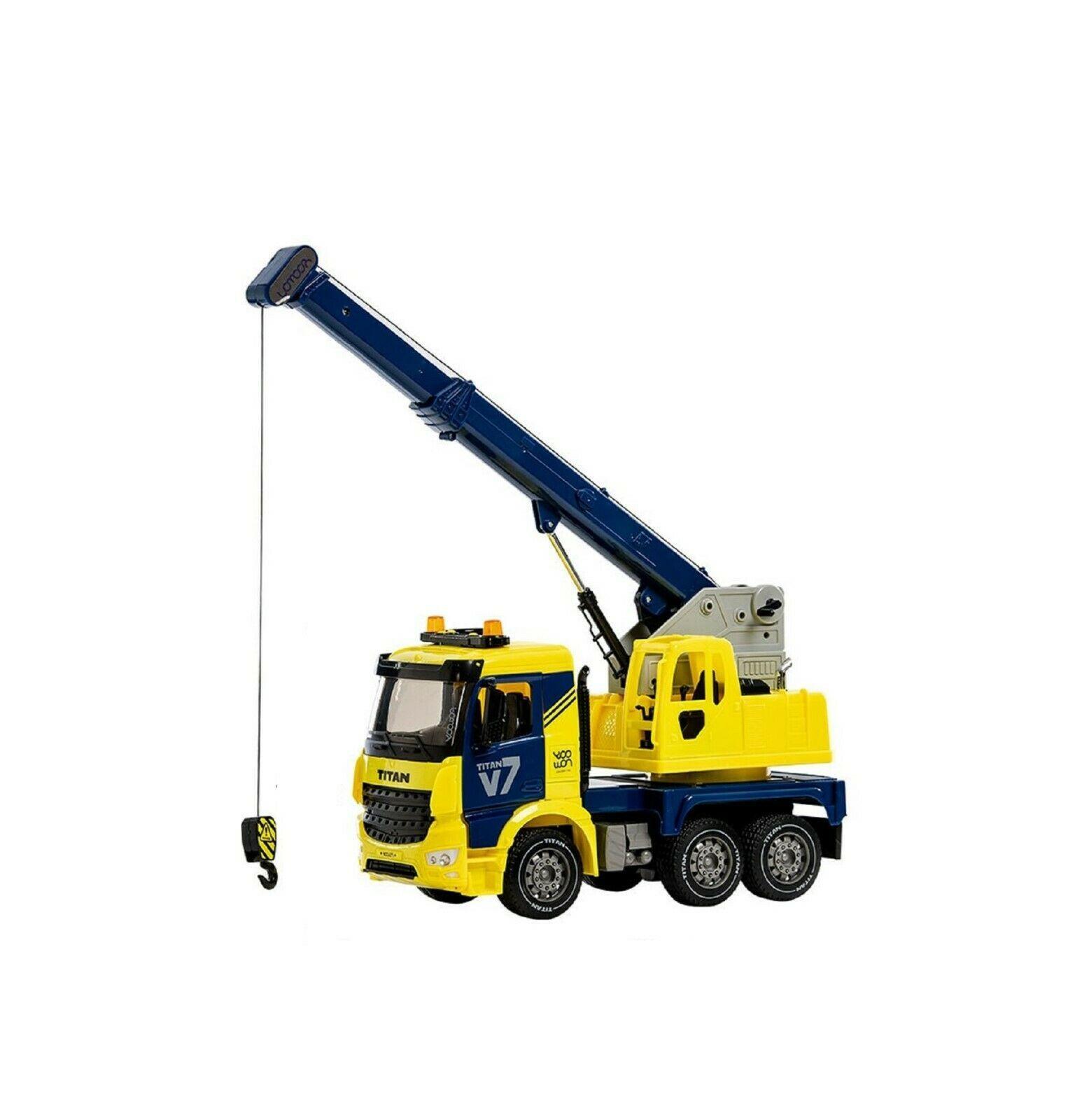 Yoowon Toys Crane Truck Car Vehicle Sound Effect Lights Heavy Equipment Play Toy