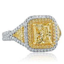 2.87 TCW Yellow Princess Cut Trillion Side Diamond Engagement Ring 18k White Gol - $5,939.01