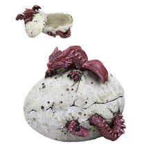 5 Inch Red Dragon Hatchling Cracked Egg Jewelry/Trinket Box Figurine - $19.79