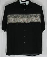 Campia Moda Mens XXL 2XL Black Button Up Hawaiian Shirt Palm Trees Cockt... - $32.73