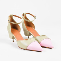 "Givenchy NIB Light Green Pink Leather Exposed Heel ""Ranelle"" Pumps SZ 38 - $455.00"