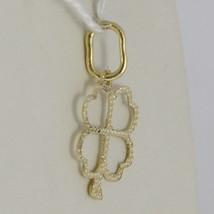 18K YELLOW GOLD FOUR LEAF CLOVER CHARM PENDANT WORKED LUMINOUS MADE IN ITALY image 2