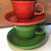 Homer Laughlin Fiesta ware Fiesta Flat Cup & Saucer Set HLC USA CHOICE (... - $12.14