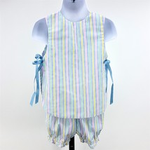Handmade Vtg Striped 2pc Toddler Girls 2T Sunsuit Apron Top Shirt & Shorts - $17.30
